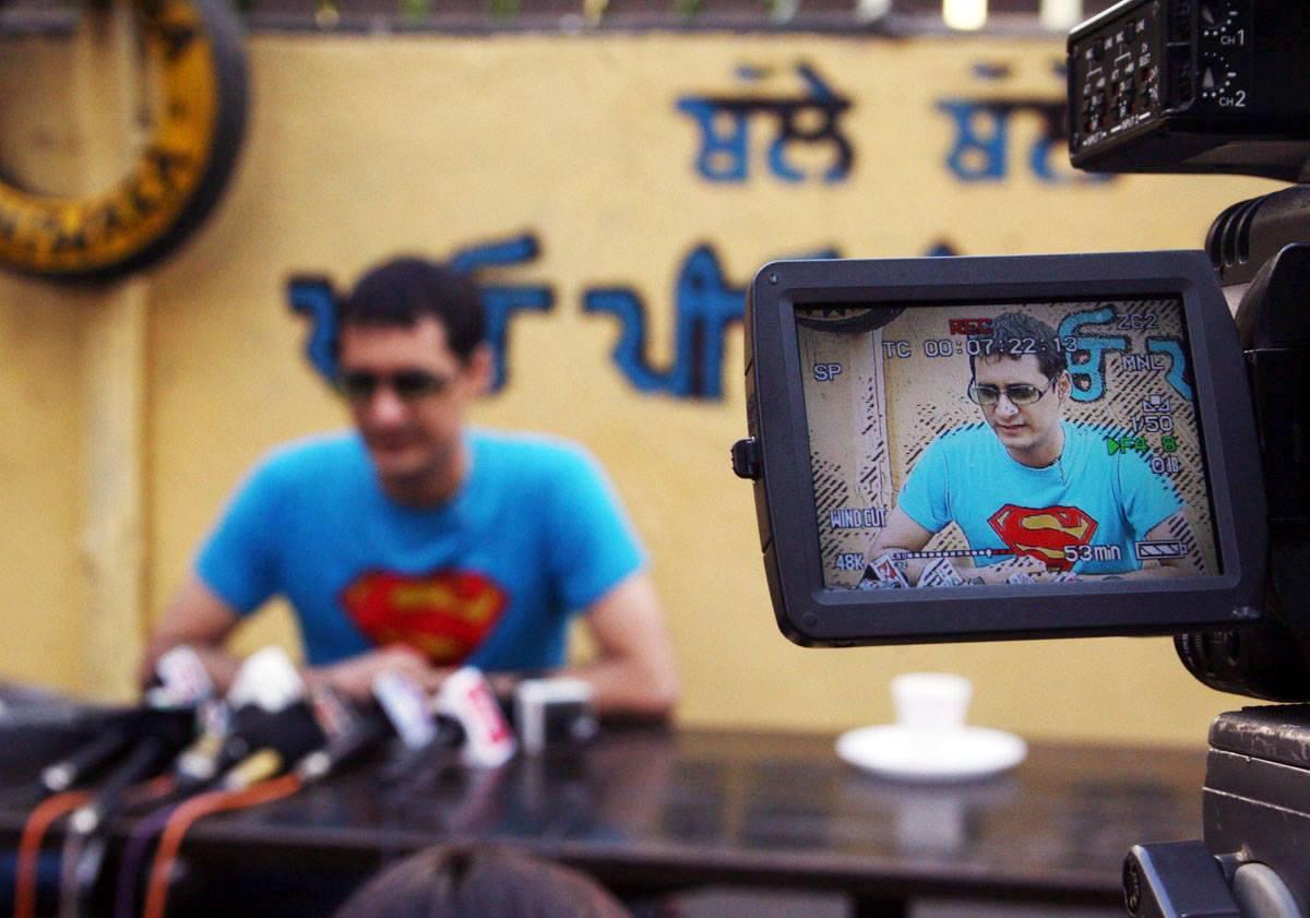 Bollywood PR guru Dale Bhagwagar addressing a press conference in Mumbai.
