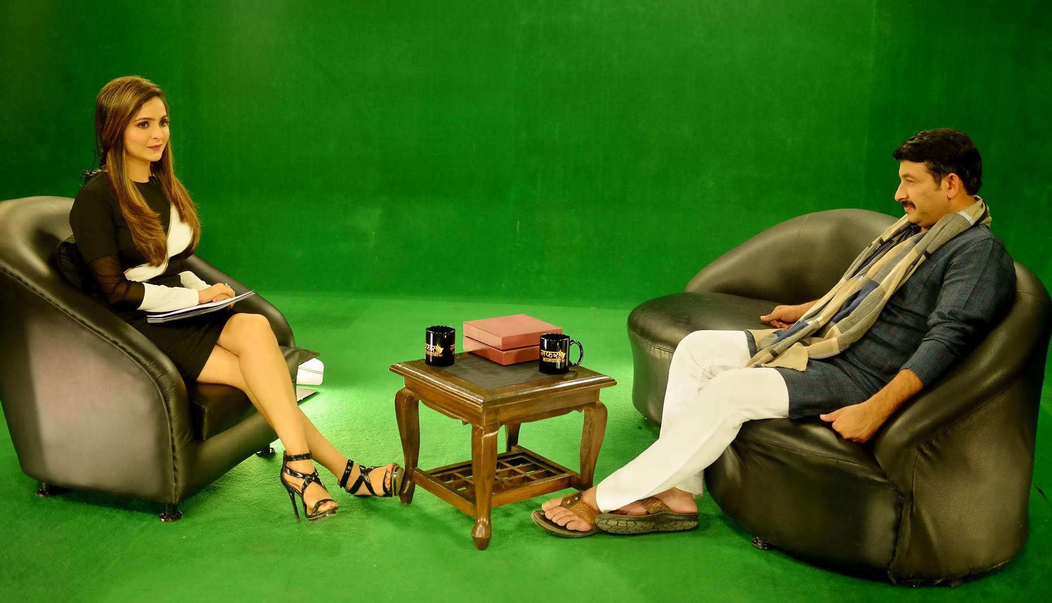 Sonam C Chhabra with Manoj Tiwari